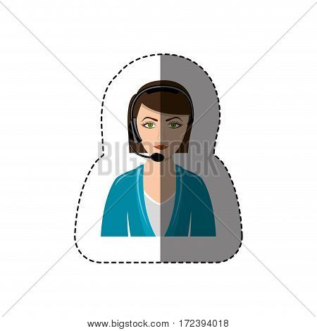 color sticker with half body of female customer service vector illustration