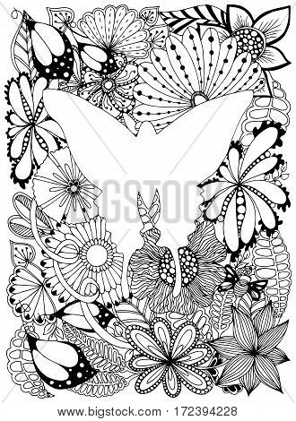 Butterfly in frame. Vector image in Black and white.