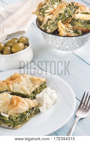 Portion Of Spanakopita - Greek Spinach Pie