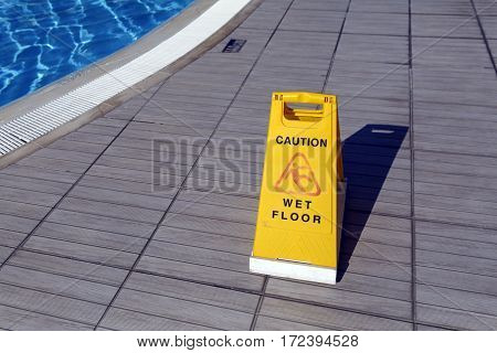 Warning sign in the swimming pool in Turkey.