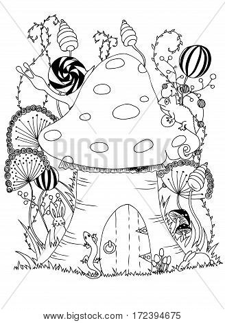 Mushroom and animals. Vector image in black and white.
