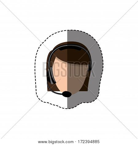 color sticker with head of female customer service without face vector illustration