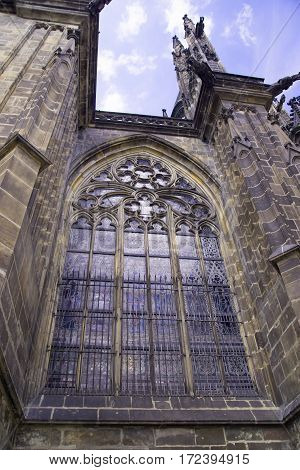 window Prague St. Vitus Cathedral at Hradcany in the Prague Castle in the Czech Republic