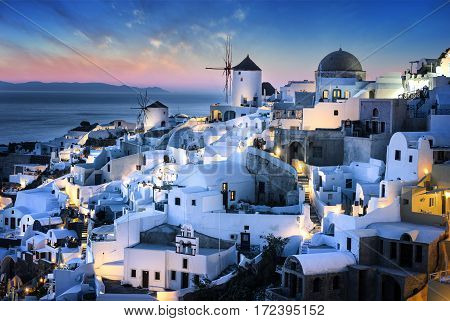Evening time and view of Oia village on Santorini island Greece.