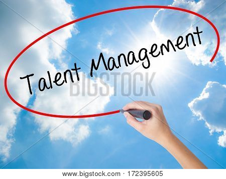 Woman Hand Writing Talent Management With Black Marker On Visual Screen