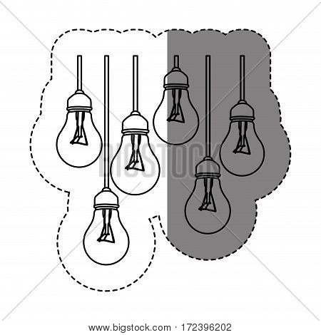 monochrome contour sticker with silhouette with set of bulb lights vector illustration