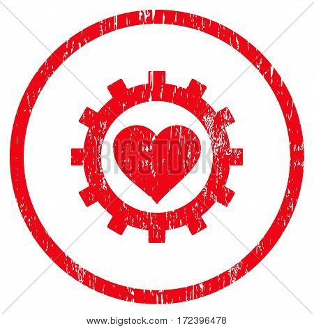 Love Heart Options Gear grainy textured icon for overlay watermark stamps. Rounded flat vector symbol with dust texture. Circled red ink rubber seal stamp with grunge design on a white background.