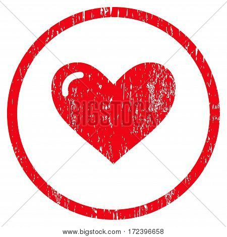 Love Heart grainy textured icon for overlay watermark stamps. Rounded flat vector symbol with scratched texture. Circled red ink rubber seal stamp with grunge design on a white background.