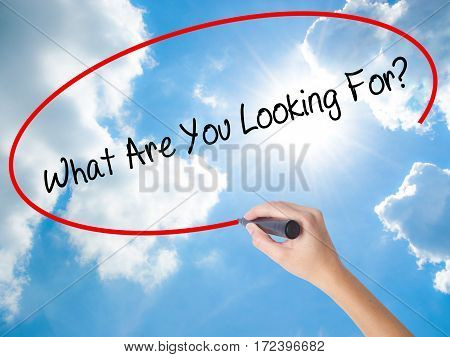Woman Hand Writing What Are You Looking For? With Black Marker On Visual Screen