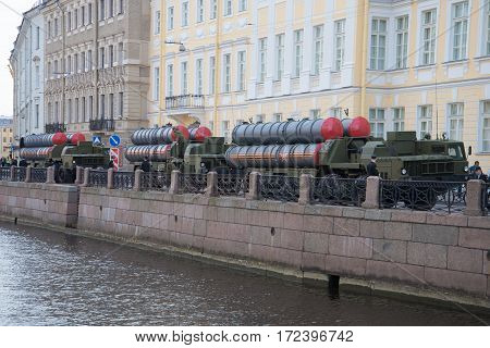 SAINT PETERSBURG, RUSSIA - MAY 05, 2015: Three missile launchers s-300PM on the embankment of the Moika river. Preparing for the rehearsal of parade in honor of Victory Day
