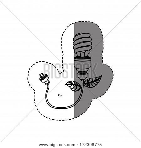 monochrome contour sticker with silhouette ecologic light bulb with plug vector illustration