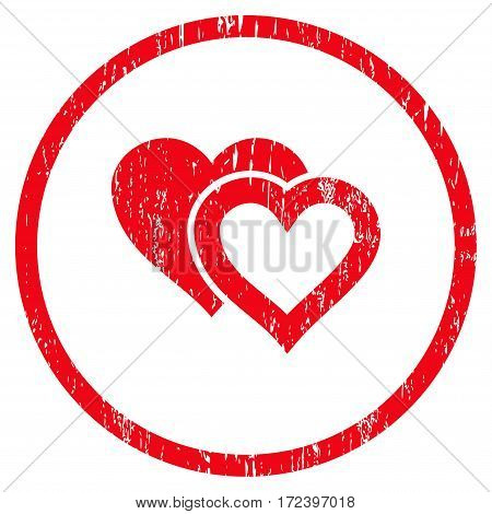 Love Hearts grainy textured icon for overlay watermark stamps. Rounded flat vector symbol with scratched texture. Circled red ink rubber seal stamp with grunge design on a white background.