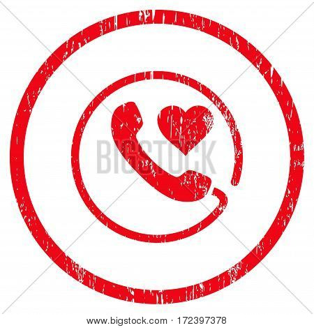 Love Phone grainy textured icon for overlay watermark stamps. Rounded flat vector symbol with scratched texture. Circled red ink rubber seal stamp with grunge design on a white background.