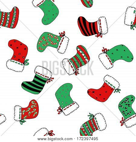 Xmas socks colored in red and green