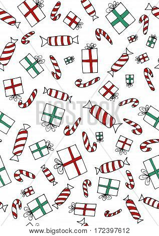 Seamless christmass gifts and sweets. Red and green