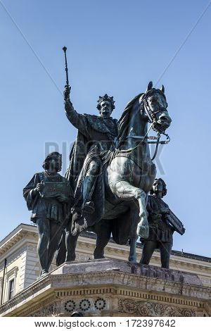 The monument Reiterdenkmal of King Ludwig I of Bavaria is located at the Odeosplatz in Munich
