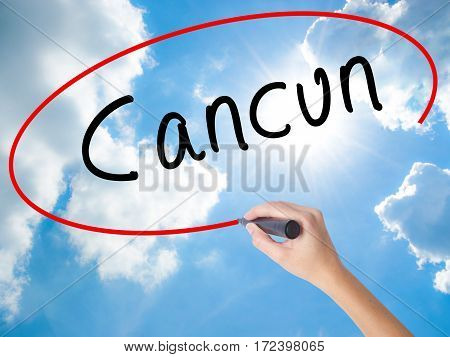Woman Hand Writing Cancun With Black Marker On Visual Screen