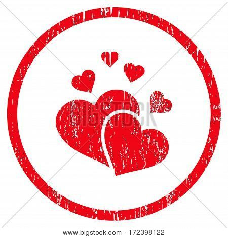 Lovely Hearts grainy textured icon for overlay watermark stamps. Rounded flat vector symbol with scratched texture. Circled red ink rubber seal stamp with grunge design on a white background.