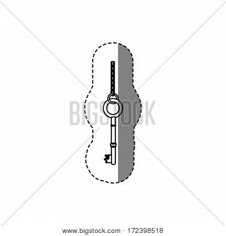 monochrome contour sticker with rounded shape vintage key with chain vector illustration