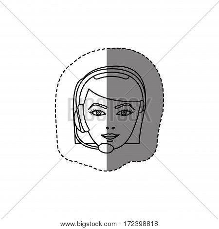 monochrome contour sticker with head of female customer service vector illustration