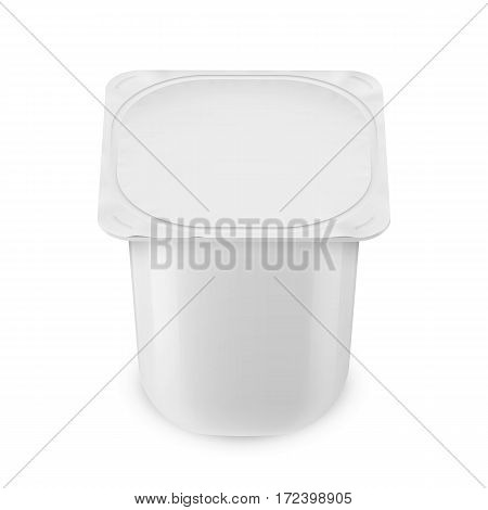 White glossy plastic pot with foil cover for yogurt, cream, dessert or jam. Rounded square form. 115 g. Realistic packaging mockup template. High view. Vector illustration.