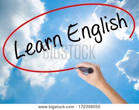 Woman Hand Writing Learn English With Black Marker On Visual Screen