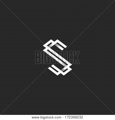 The letter S logo in the style of black and white idea monogram, interweaving lines with shadows two initials SS, mockup design elements for typography