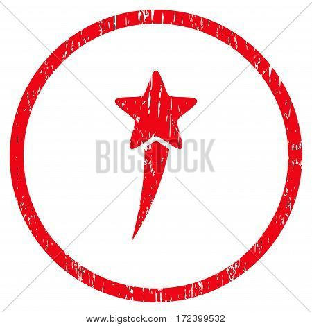 Starting Star grainy textured icon for overlay watermark stamps. Rounded flat vector symbol with dirty texture. Circled red ink rubber seal stamp with grunge design on a white background.