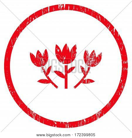 Tulip Flowers grainy textured icon for overlay watermark stamps. Rounded flat vector symbol with dirty texture. Circled red ink rubber seal stamp with grunge design on a white background.
