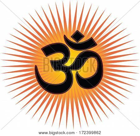 The most important symbol in Hinduism - Om, transparent background, red and gold sun rays, vector