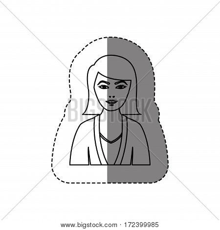 monochrome contour sticker with half body woman with jacket and short hair without face vector illustration