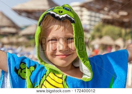 Cute little boy wearing funny towel on the beach