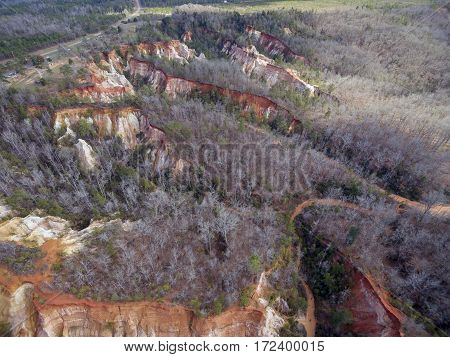 Aerial view of Providence Canyon State Park in Lumpkin Georgia