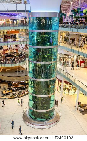 Moscow. November 15, 2016. Top view of the tall cylindrical aquarium in the shopping center