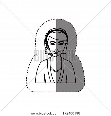 monochrome contour sticker with half body of female customer service without face vector illustration