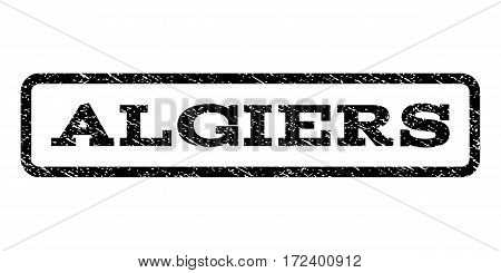 Algiers watermark stamp. Text caption inside rounded rectangle frame with grunge design style. Rubber seal stamp with dirty texture. Vector black ink imprint on a white background.