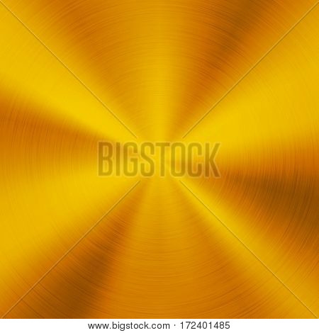 Gold metal abstract technology background with polished, circular brushed texture, chrome, silver, steel, aluminum for design concepts, web, posters, wallpapers and prints. Vector illustration.