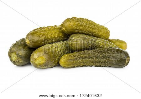 Heap Of Pickled Gherkins Isolated On White