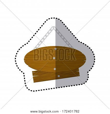 sticker pair pieces wooden sign board with chains vector illustration