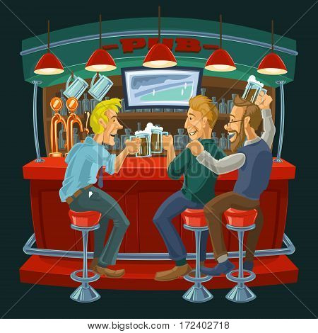 Vector cartoon illustration of male friends spend their free time in a bar