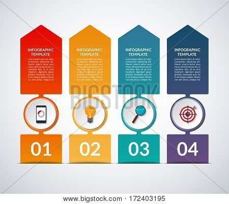 Up arrow infographic banner with circle design elements. 4-step layout template. Vector background. Business growth concept. Can be used for web, vertical chart, graph, diagram, number options