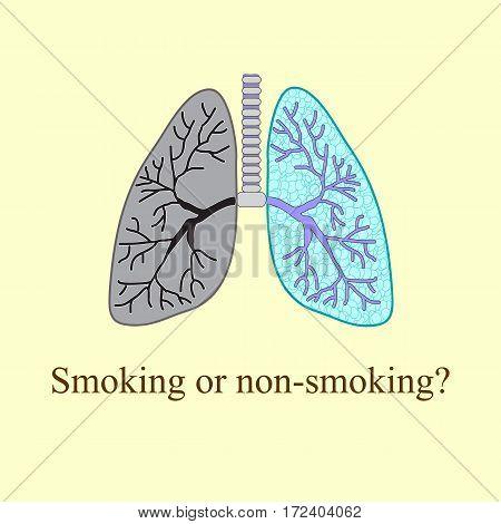 Light smoker. The harm of smoking Vector illustration