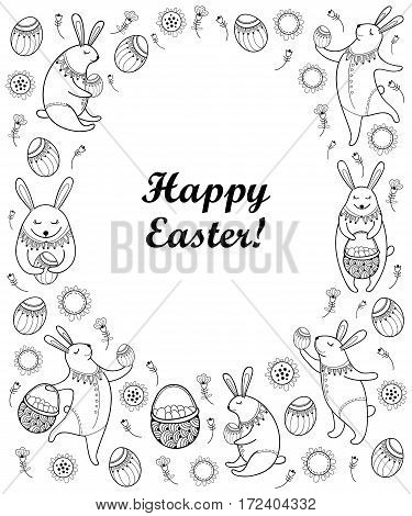 Vector Happy Easter card with outline Easter rabbit, egg and basket isolated on white background. Cartoon elements with cute bunny and eggs in contour style for coloring book and greeting design.
