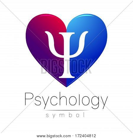 Modern heart sign of Psychology. Letter Psi. . Creative style. in vector. Design concept. Violet blue color isolated on white background. Symbol for web, print, card