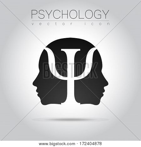Modern head of Psychology. Profile Human. in vector. Black color on grey background. Symbol for web, print, card, flyer