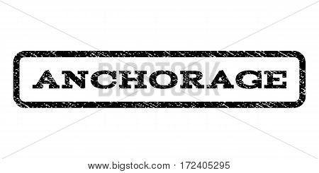 Anchorage watermark stamp. Text caption inside rounded rectangle with grunge design style. Rubber seal stamp with scratched texture. Vector black ink imprint on a white background.