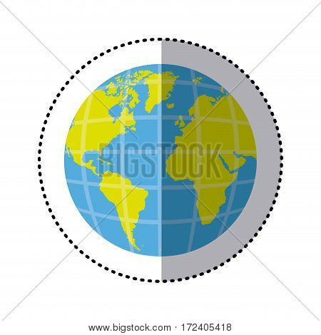 sticker earth world map with continents in 3d vector illustration