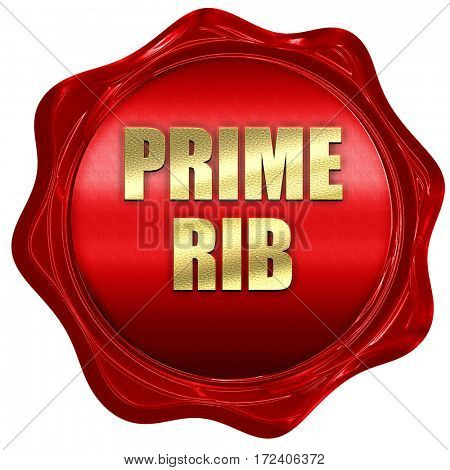 prime rib, 3D rendering, red wax stamp with text