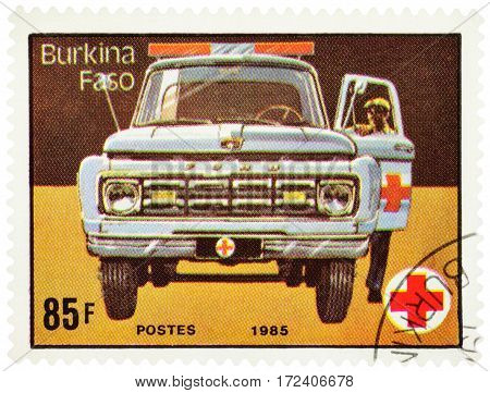 MOSCOW RUSSIA - February 18 2017: A stamp printed in Burkina Faso (Upper Volta) shows ambulance car series