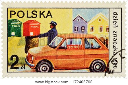 MOSCOW RUSSIA - February 19 2017: A stamp printed in Poland shows postman collected letters from mailbox series